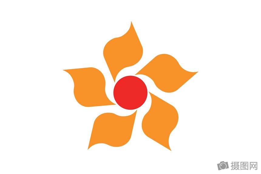 太阳花旗帜矢量图