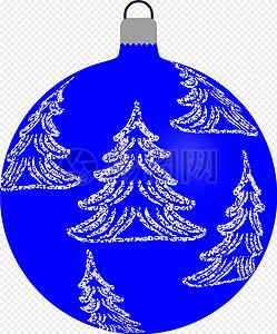 蓝色圣诞树球体图片