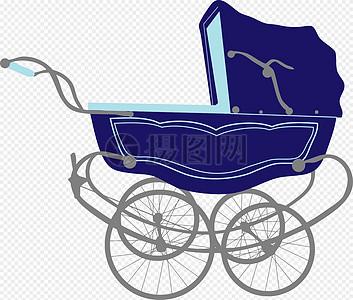 蓝色的婴儿车图片