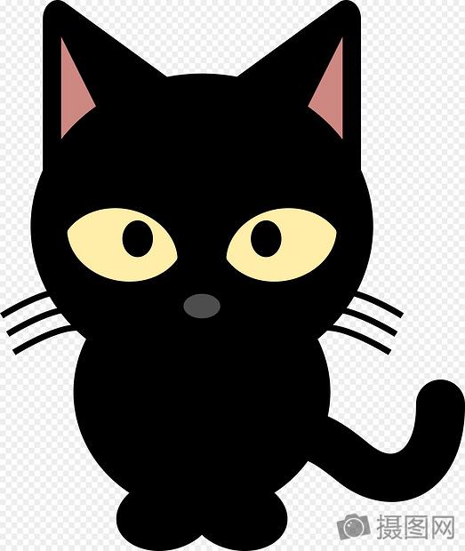 黑色小猫卡通背影头像