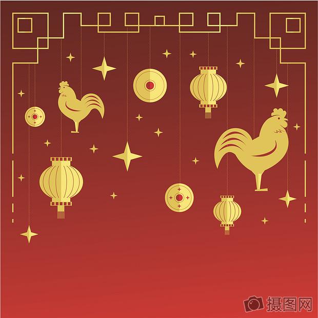 2017鸡年金色渐变矢量新年素材背景图片