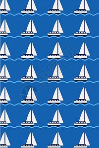 卡通 蓝色 帆船 水手 大海 背景图片
