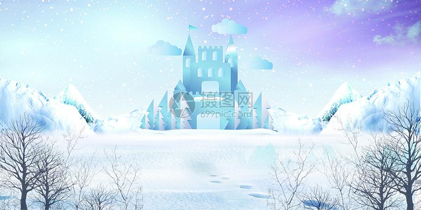 白色冬天雪景背景图片