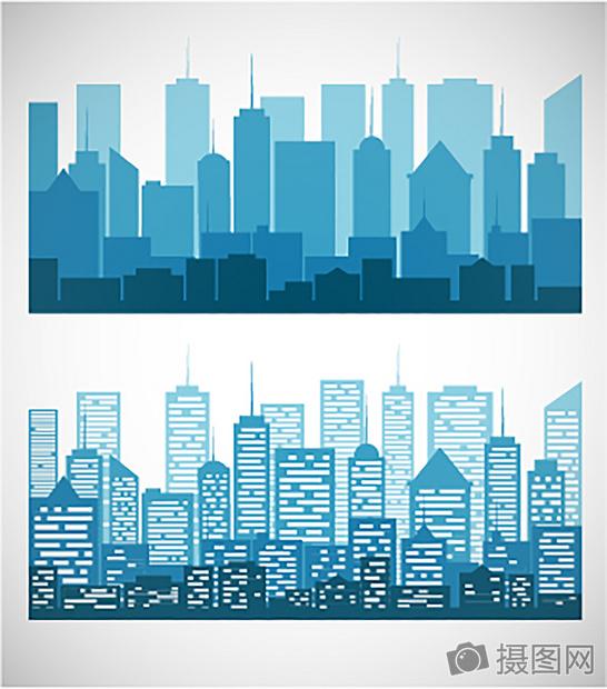 城市剪影合集矢量素材图片