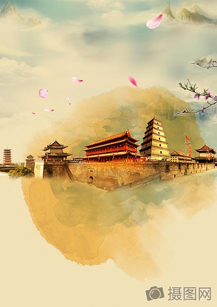 中国风旅游海报背景图片