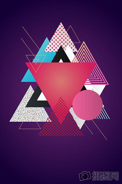 国外炫彩几何科技唯美圣诞海报背景