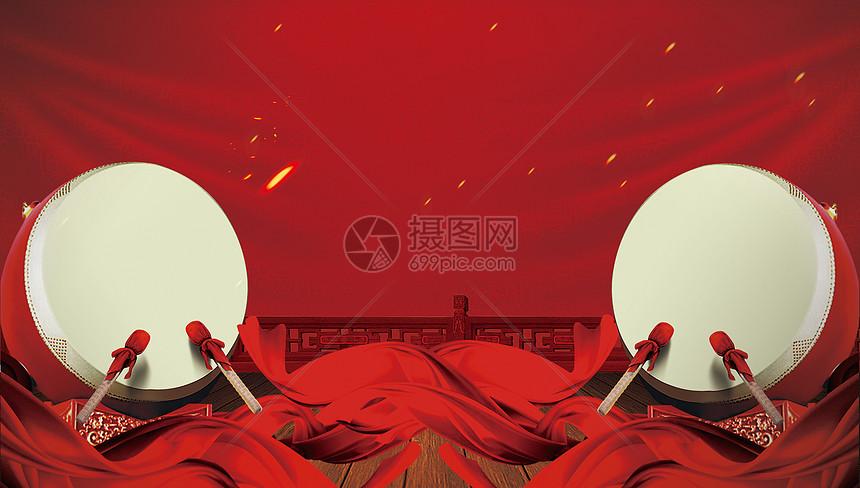 红色喜庆展板背景图片