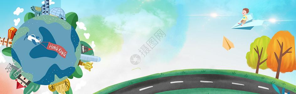 卡通手绘地球海报背景图片
