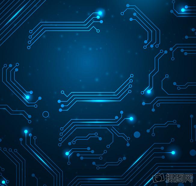 蓝色电路科技背景