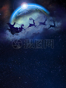 麋鹿圣诞节海报背景图片
