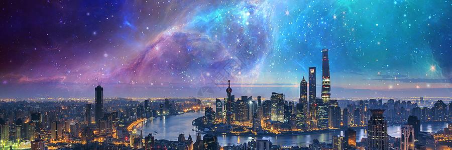 璀璨星空海报背景图图片