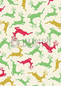 国外节日彩色雪花鹿背景底纹图片