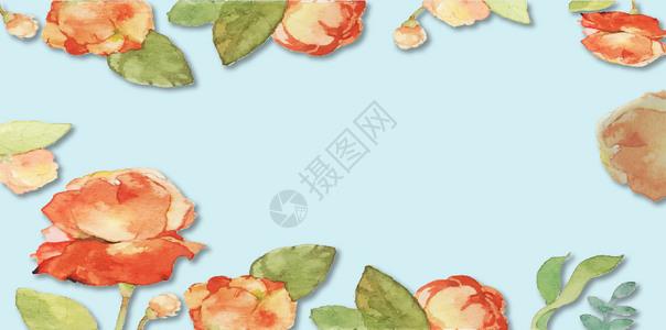 手绘蓝色花朵图案图片