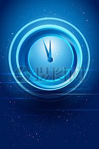 国外蓝色科技时钟钟表时间背景图片