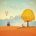 手绘秋季景观矢量背景素材图片