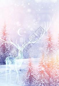 梦幻麋鹿冬季海报背景图片