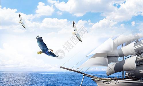 蓝色杨帆起航企业文化展板海报背景图片