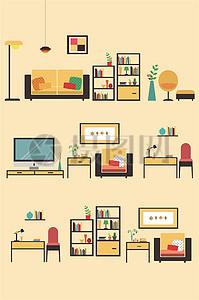 扁平化家具矢量素材图片