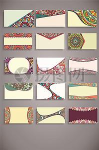 波西米亚风格的名片收集矢量图片