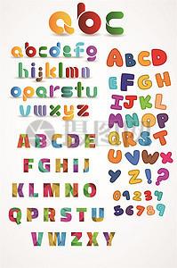 创意彩色英文字母矢量素材图片