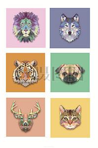 创意几何多边形动物头矢量素材图片