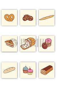 可爱卡通面包蛋糕矢量图素材图片