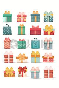 可爱生日盒礼物礼品盒包装矢量素材图片