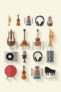 立体逼真音乐器材矢量素材图片