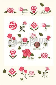玫瑰标识矢量素材图片