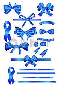 蓝色蝴蝶结矢量素图片