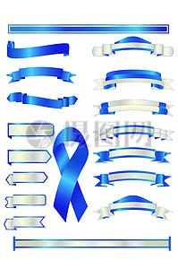 蓝色丝带边框素材图片