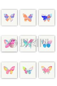 梦幻水彩蝴蝶标签矢量图素材图片