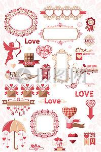 欧式红色浪漫婚礼矢量图素材图片