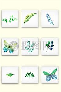 清新绿色手绘树叶蝴蝶矢量图素材图片