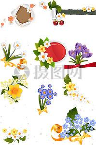 清新鲜艳花束矢量图图片