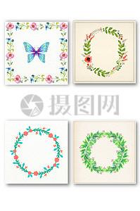 手绘清新花环矢量图素材图片