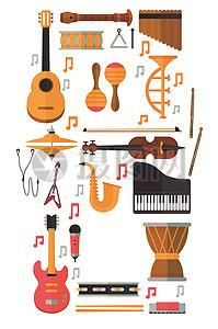 音乐工作室乐器矢量素材图片