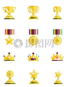 奖杯奖牌矢量图图片