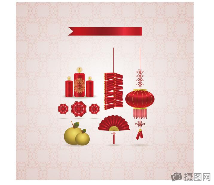 国外矢量新年元旦国庆喜庆蜡烛鞭炮灯笼元素图片