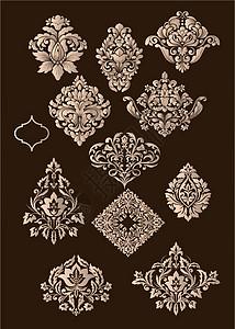经典古老欧式金色古铜花纹纹饰素材图片