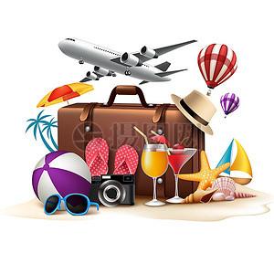 旅游海报手绘卡通行李箱素材图片