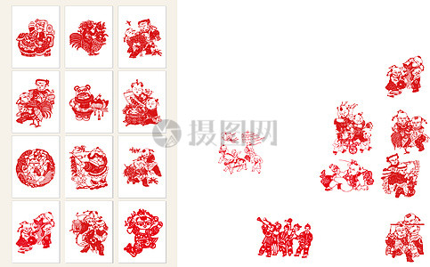 中国传统剪纸素材.图片