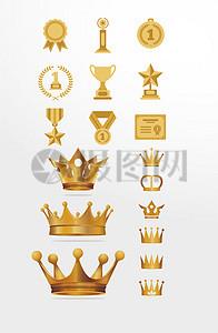颁奖金色皇冠麦穗光环矢量图素材图片