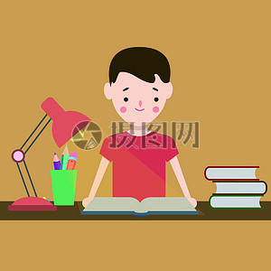 在桌上看书的小孩图片
