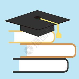 书本上的学士帽图片