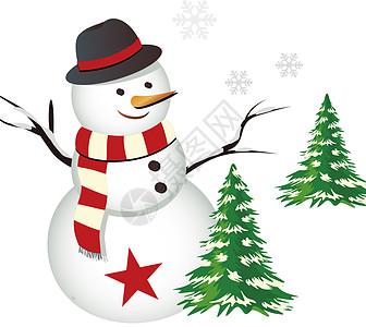 矢量圣诞雪人图标图片