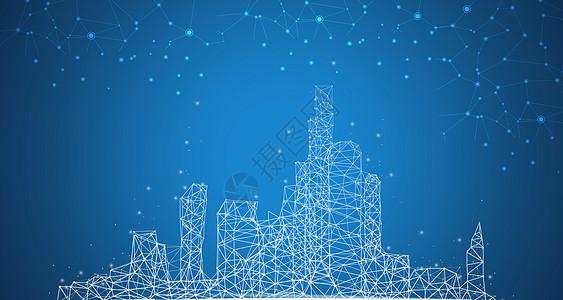 蓝色城市商业大气背景图片