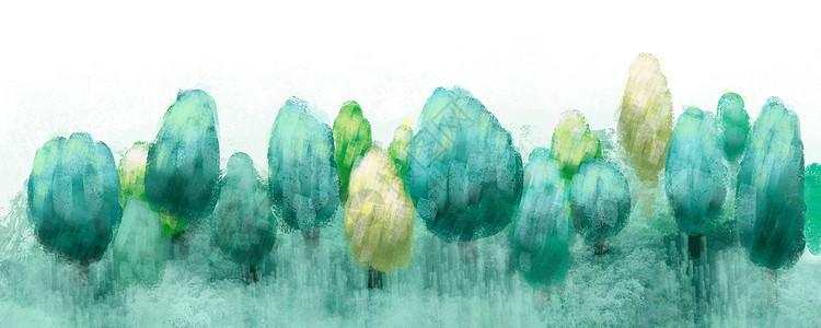 水彩绿树草地图片