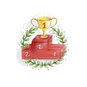 领奖台上的冠军奖杯图片