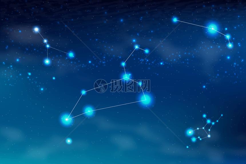 炫酷蓝色星座矢量背景素材